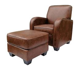 """Ravenna Home Club Faux Leather Accent Chair and Ottoman, 29"""""""