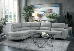 CONTEMPORARY CURVY GREY POLYESTER SOFA CHAISE SECTIONAL LIVI