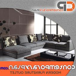 Contemporary Grey Fabric Sectional Sofa w Chaise and Pillows
