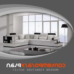 Contemporary Leather Sectional Accent Sofa with Shelf and Ta