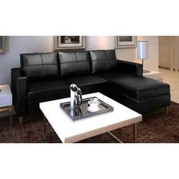 Contemporary Leather Sectional Sofa 3 Seater L Shaped Living
