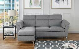 Contemporary Linen Fabric Sectional Sofa, Small Space Couch,