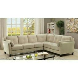 Furniture of America Contemporary Living Room Sectional Beig