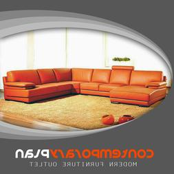 Contemporary Orange Leather Sectional Sofa with Chaise Moder
