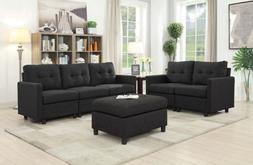 Contemporary Sectional Sofa Set Couch Microsuede Reversible