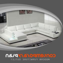 Contemporary White Leather Sectional Sofa with Built in Ligh