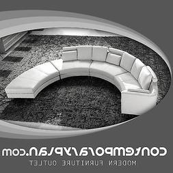 contemporary white s shaped curved leather sectional