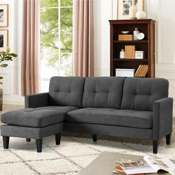 SAMERY Convertible Sectional Sofa Couch, Modern Linen Fabric
