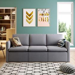 Convertible Sectional Sofa Couch, Modern Linen Fabric L-Shap