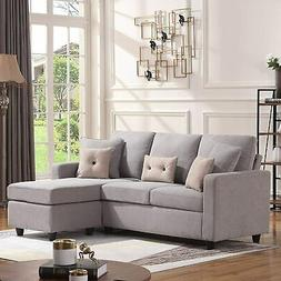 Convertible Sectional Sofa Fabric L-Shaped Couch Loveseat w/