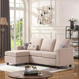 Convertible Sectional Sofa Set Fabric L-Shaped Couch Lovesea