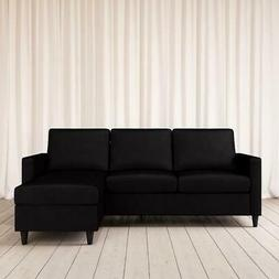 cooper modern sectional sofa black velvet