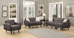 AC Pacific Crystal Collection Upholstered Charcoal Mid-Centu