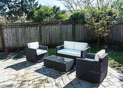 Outsunny 4 Piece Outdoor Rattan Wicker Sectional Sofa Patio