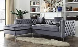 Iconic Home Da Vinci Tufted Silver Trim Grey Velvet Right Fa