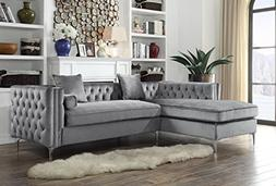Iconic Home Da Vinci Tufted Silver Trim Grey Velvet Left Fac