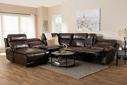 Baxton Studio Dacio Faux Leather Reclining Sectional in Brow