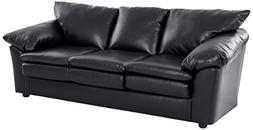 "Ravenna Home Darian Oversized Pillow Faux Leather Sofa, 92""W"