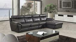 Dark Chocolate Italian Leather Sectional Set Left American E