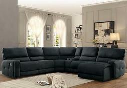 dark grey fabric reclining sectional sofa chaise