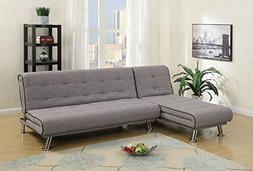 Poundex Delfina Taupe Slate Polyfiber Sectional Sofa Bed