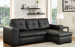 Denton Black Leatherette Sectional w/ Sleeper by Furniture o