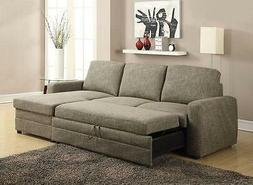 Derwyn 2 Pcs Light Brown Linen Sectional Sofa Set For Living