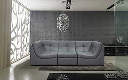 Divani Casa 207 Modern Grey Leather Sectional Sofa by VIG Fu