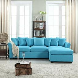 Divano Roma Furniture Modern Linen Sectional Sofa Couch with