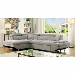 Furniture of America Dorian Sectional Sofa with Chaise, Gray
