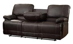 Homelegance Double Reclining Sofa Plush Seating with Drop Do