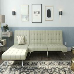 DHP Emily Sectional Futon Sofa Bed with Convertible Chaise L