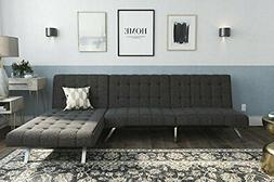 Emily Sectional Futon Sofa with Convertible Chaise Lounger,