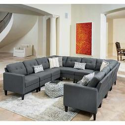 Emmie Mid Century Modern 10-piece U-shaped Sectional Sofa Gr