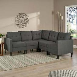 Emmie Mid-century Modern 5-piece Sectional Sofa Set by Grey
