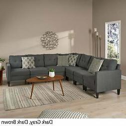 Emmie Mid Century Modern 7-piece Sectional Sofa Set by dark