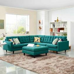 Modway Empress 3-Piece Upholstered Fabric Sectional Sofa Set