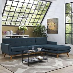 Engage Left-facing Button-tufted Sectional Sofa With Wood Fr