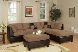 Poundex Espresso Faux Leather Sectional Sofa with Chaise & O