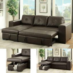 Espresso Faux Leather Storage Sleeper Sectional Sofa Tufted