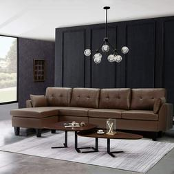 Esright 4-Seat Convertible Sectional Sofa Couch, L-Shaped So