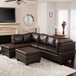 Evan 3 Piece Leather Sectional Sofa, Brown