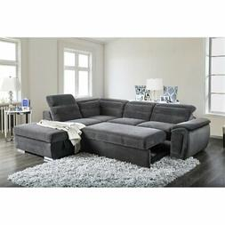 Furniture of America Evy Sleeper Sectional in Dark Gray