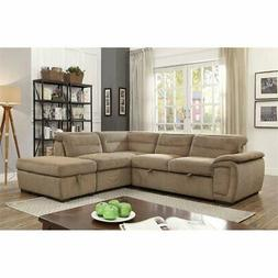 Furniture of America Evy Sleeper Sectional in Mocha