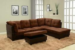 Beverly Fine Furniture F107A-3PC Sectional Sofa Set Chocolat