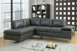 Poundex F6520 2 Piece Gray Leatherette Sectional Sofa