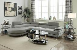 Poundex F6984 Grey Bonded Leather Sectional Sofa