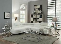 Modern Sectional Sofa White Bonded Leather Contemporary LOOK