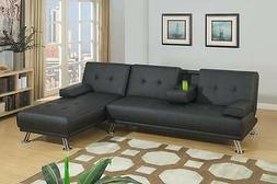 Poundex F7843 Black Faux Leather Adjustable Sectional Sofa B