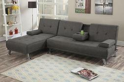 Poundex F7845 Slate Polyfiber Fabric Adjustable Sectional So